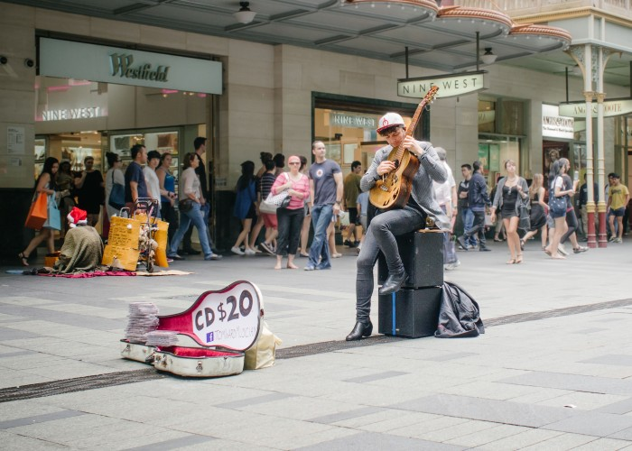 Street performance and street living.