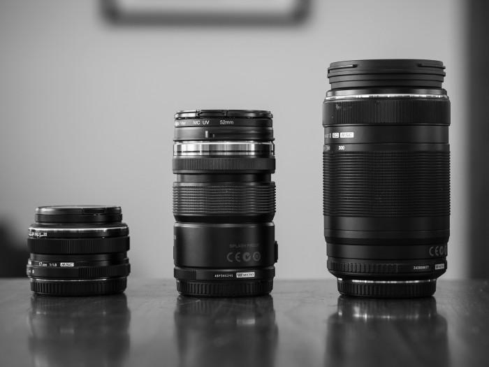 17mm 1.8 prime, 12-50mm kit, 75-300mm